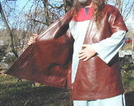 The inner layer of our Viking Age Gambeson faces the grain side of the leather outward. The same high quality leather is used on both inside and outside layers.