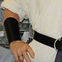 Basic Bracers shown in black leather.