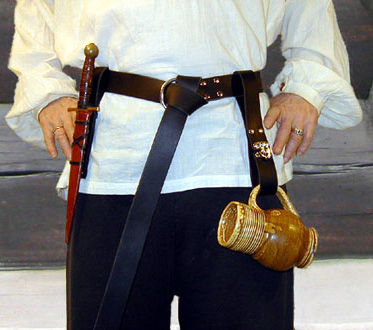 Bailey Basics Townsman Set. Medieval Ring Belt, Dagger Frog & Tankard Strap shown in black leather with nickel hardware.