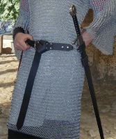 Basic Sword Belt shown in black leather with nickel hardware.