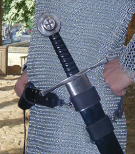 Basic Sword Belt side view shown in black leather with nickel hardware.