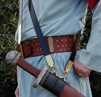 Viking Baldric with brass work hand done at The Inner Bailey.
