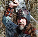 Front view of our leather Anglo-Saxon Helm. Shown in black with dark brown plates.