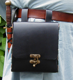 Box Purse Belt Pouch front view. Black with Antique Brass Clasp.