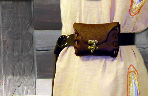 Small Belt Pouch in dark brown leather with antique brass clasp.