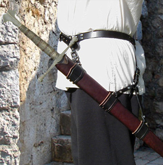 Our Sword Belt for Long Sword is based on XVth Century swordbelts. Shown side view in black leather with nickel hardware.